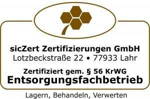 Zertifiziert gem. § 56 KrWG Entsorgungsfachbetrieb